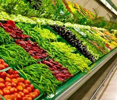 Produce section at grocery store.