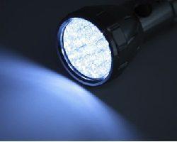 Flashlight shining in the dark.
