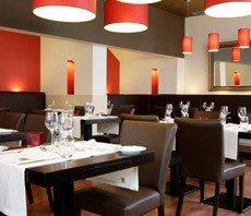Interior of a nice restaurant.