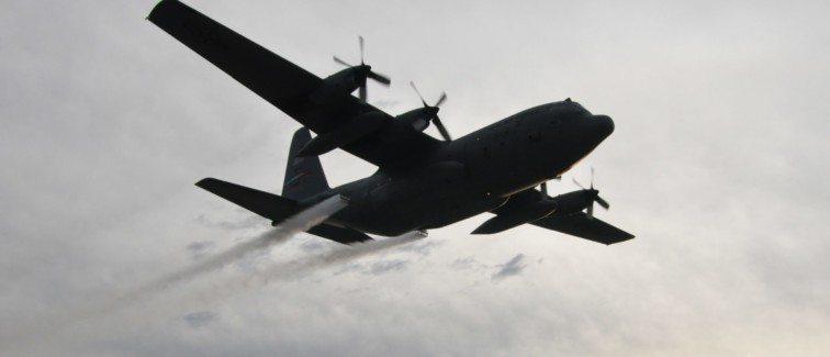 C-130H Hercules spraying pesticide over Houston.