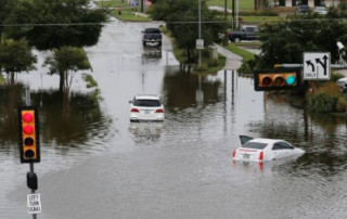 Flooded street after tropical storm Beta in Houston Texas